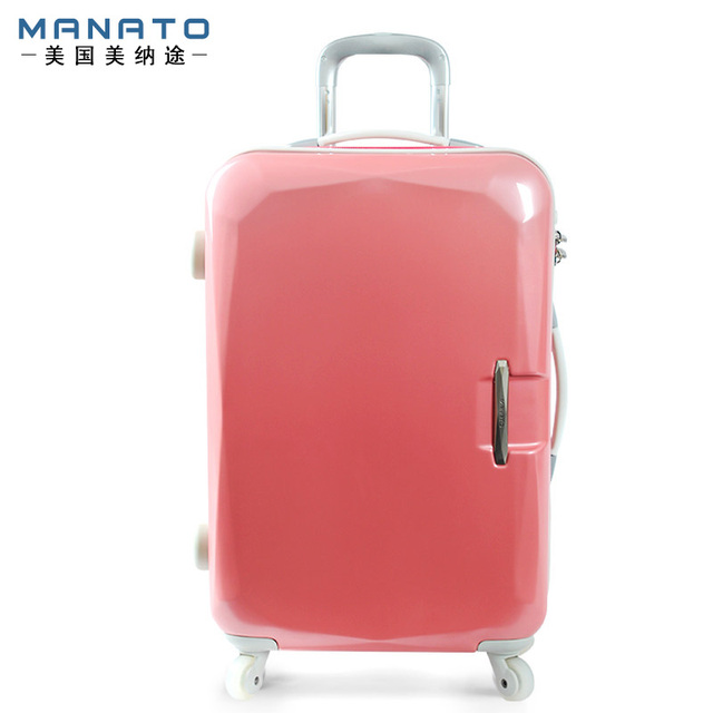 MANATO Women's Luggage 22 Inch ABS Lovely Pink Travel Boxs Trolley Luggage Suitcase Caster Board Chassis Luggage Rolling Bagage