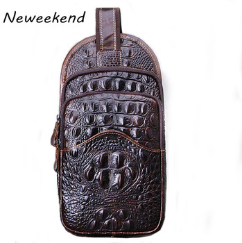 Men's Chest Bags Genuine Leather Male Messenger Purse Shoulder Bags Business Crocodile Pattern Casual Travel Bags Pack Vintage