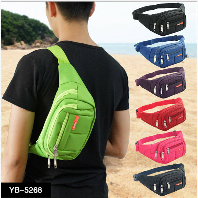 2019 Newest Hot Fanny Pack Mens Womens Waist Hip Belt Bag Purse Pouch Money Belt Wallet Travel Sport Nylon 3 Zippers Waist Packs