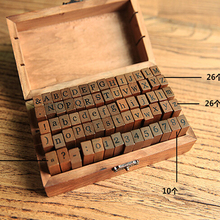 70pcs/set Vintage DIY Number And Alphabet Letter Wood Rubber Stamps Set With Wooden Box For Teaching Play