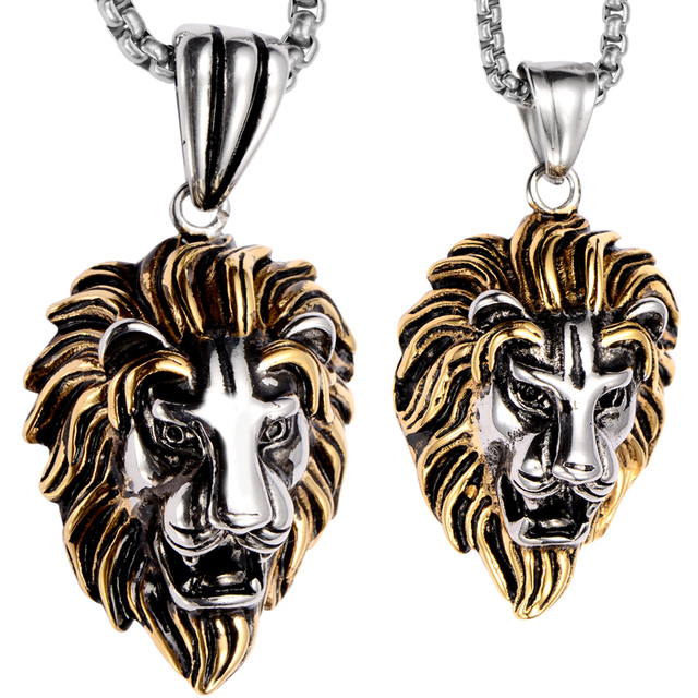 Couple necklace stainless steel lion pendants w chain gold silver couple necklace stainless steel lion pendants w chain gold silver valentines day gifts for him her aloadofball Image collections