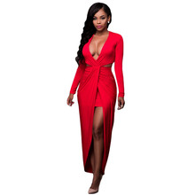 Women Sexy Bodycon Dresses 2016 New Arrival Black Cut Out Drape Slit Long Sleeve Maxi Dresses Long Elegant Vestido Longo
