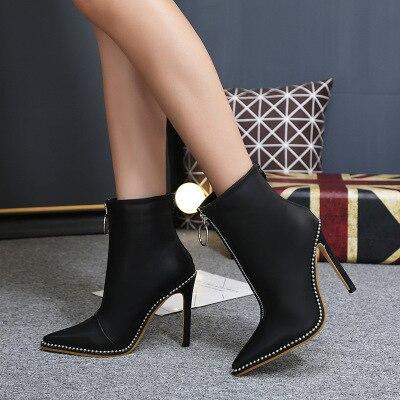 Zapatos De Tacón Mujer Los Mujeres E Cremallera Con Invierno Cuentas Las Metal 2018 Patucos Terciopelo Otoño Alto Señaló Botas Stiletto xYZ0XgU