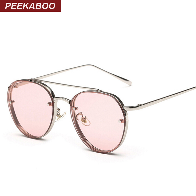Peekaboo Newest yellow green pink ocean sunglasses women fashion summer style steam punk metal sun glasses men uv400 lentes de