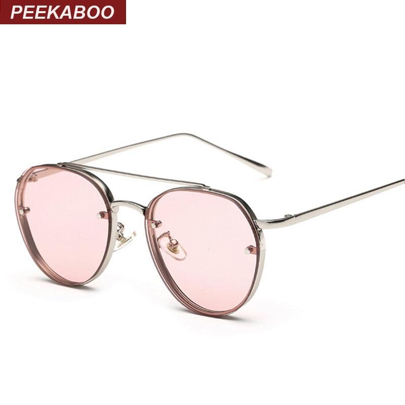 Peekaboo Nuevo amarillo verde rosa océano gafas de sol mujer moda verano estilo steam punk metal gafas de sol hombres uv400 lentes