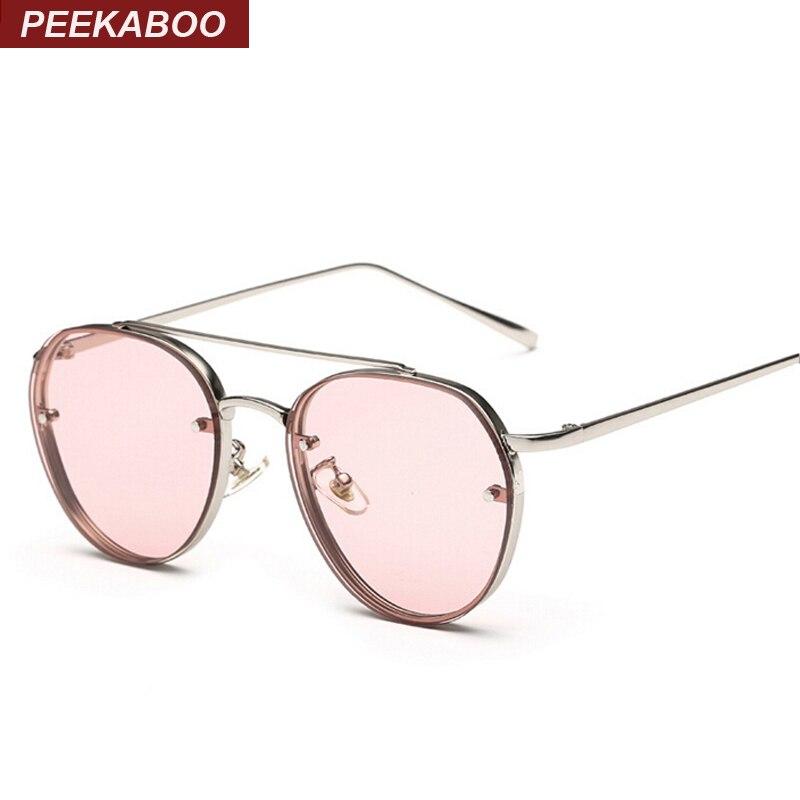 Peekaboo más nuevo amarillo verde rosa océano gafas de sol mujeres moda verano estilo vapor punk metal gafas de sol hombres uv400 lentes de