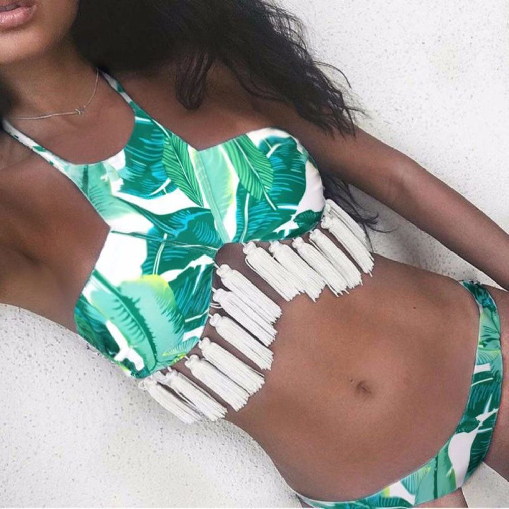 Swimsuit woman two pieces 2017 hot sexy green print floral bikini women swims bathing suit tankini swimwear push-up brazilian