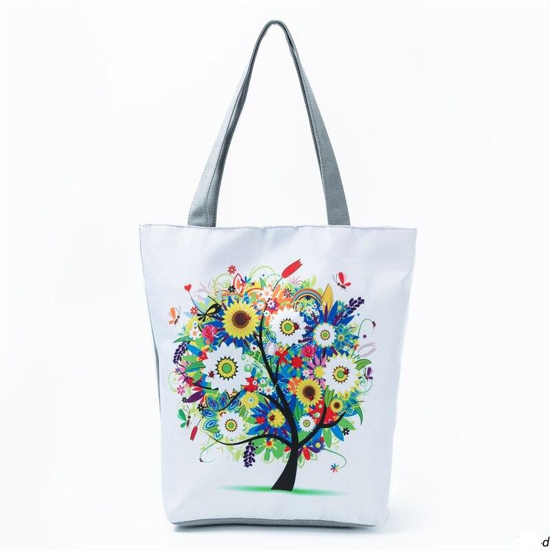 Colorful Tree Printed Tote Handbag For Teenage Cartoon Design Canvas Single Shoulder Bag Women Shopping Bag Beach Bag Girls H75