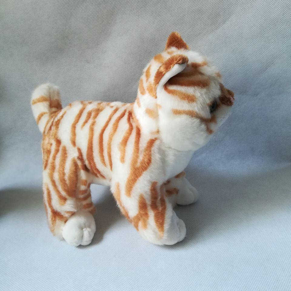Environ 25 cm dessin animé chat peluche jouet jaune rayures design chat doux poupée enfant jouet cadeau d'anniversaire h2499 - 4