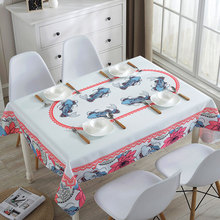 Senisaihon Korean Polyester Cotton Waterproof Tablecloth Cartoon Carp Pattern Dust-proof Washable Table cloth Party Cover