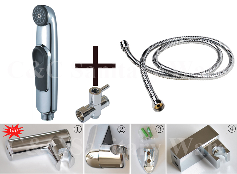 G1/2, G7/8, G3/4, M18X1.5L Optional T-adapter Clean Hand Held Bidet Shattaf Attachment Chrome Finish Complete Kit A1101ST биде maide shattaf g7 8 t 3018