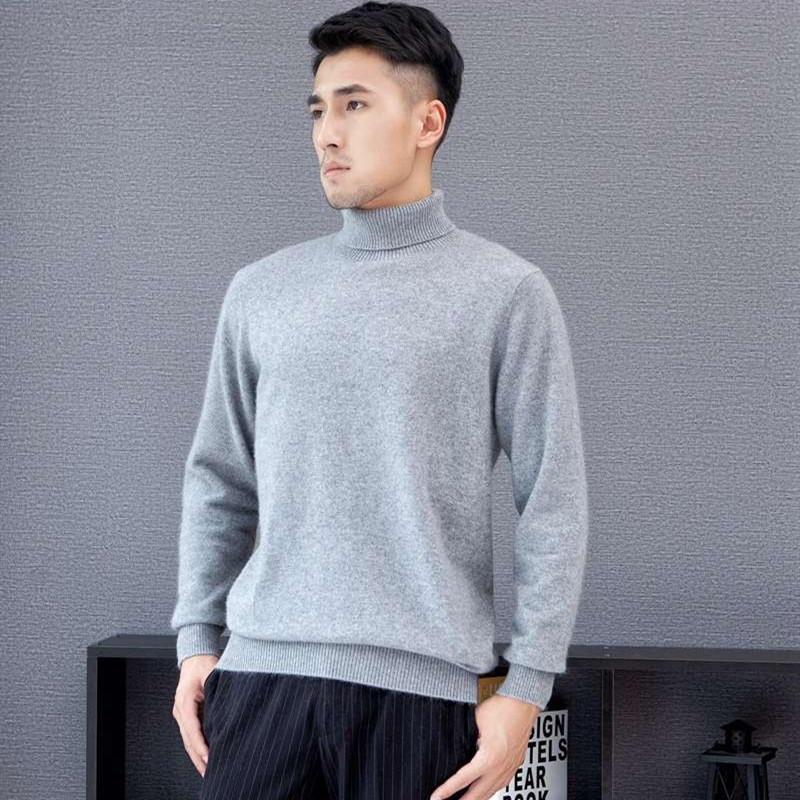 LHZSYY Men's New 100%Pure Cashmere Sweater Fashion High Lapel Knit High-End Pullover 2019Autumn Winter Wild Thicken Warm Sweater