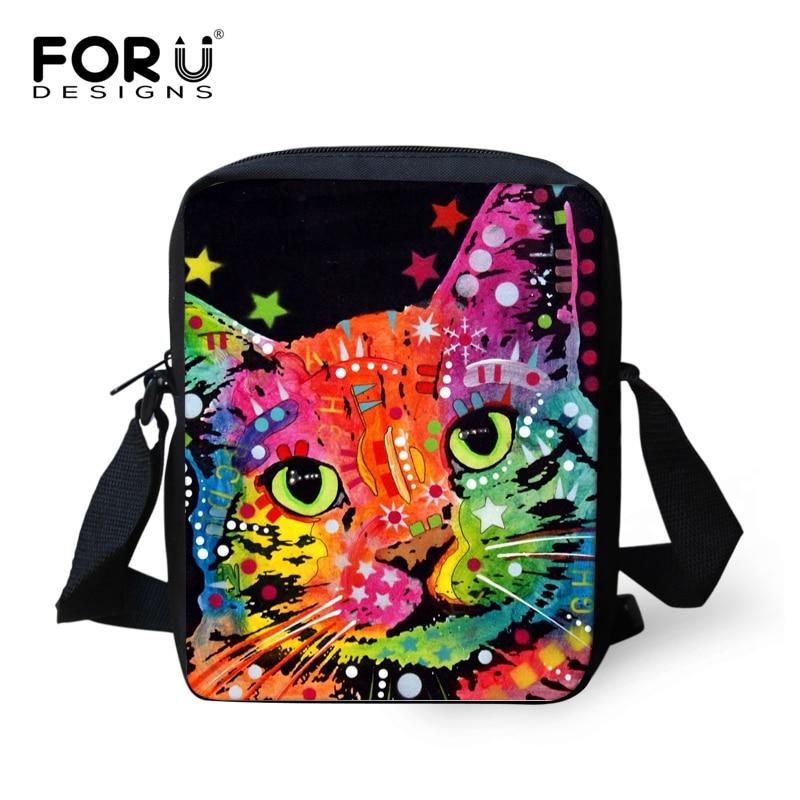 FORUDESIGNS Colorful Animal Cat Pug Dog Pattern Children School Bags Small Baby Girls Book Shoulder Bags Kindergarten Mochila