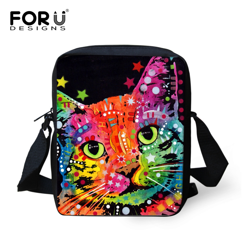 forudesigns colorido gato animal cão Item : Children School Book Bags
