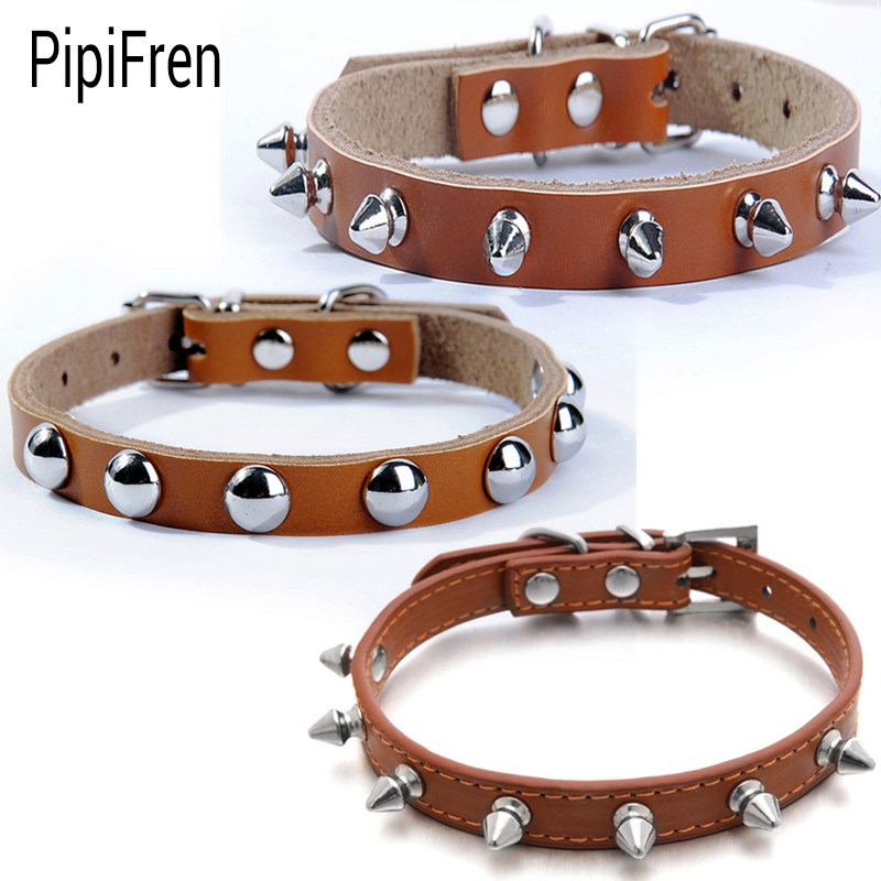 buy pipifren genuine leather small cats collars breakaway kitten spiked. Black Bedroom Furniture Sets. Home Design Ideas