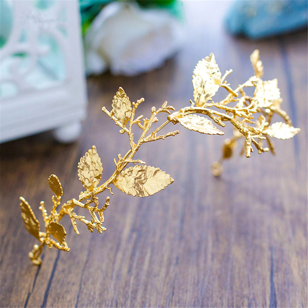 Gold Leaf Baroque Tiara Headband Flower Crown Hair Jewelry Bridal Hairband Headpiece Hair Band Wedding Hair Accessories WIGO0983 2017 new spring flower crown hairband bridal wedding hair accessories rose floral wreath for kids head tiara garland