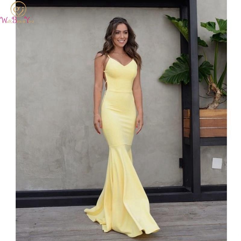 Light Yellow Evening Gown Sexy Criss Cross Backless Spaghetti Straps Mermaid V-neck Satin Trumpet Floor Length Prom Party Dress