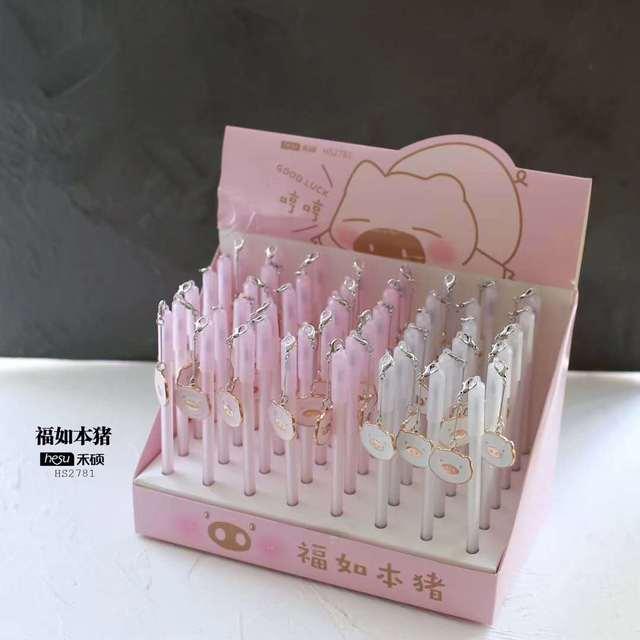 48 pcs Canetas Gel Kawaii Bonito porco cor de rosa preto colorido presente kawaii canetas gel-tinta escrita Bonito dos artigos de papelaria do escritório material escolar