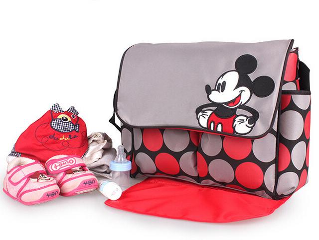 Multifuncional Cochecito de Mickey Del Bebé Bolsa de Pañales de La Momia de Maternidad Del Bolso Del Panal Bolsas de Almacenamiento de bolsas de maternidad bebe