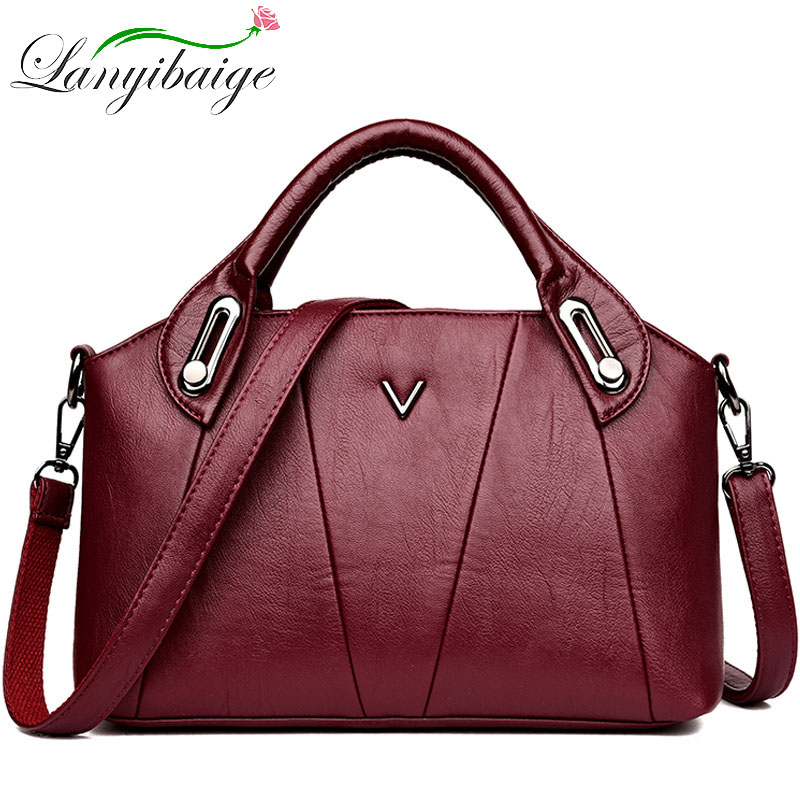 2019 Women Leather Handbags Vintage Soft Leather Female Crossbody Shoulder Bags Ladies Designer Brand Luxury Top-Handle Bags