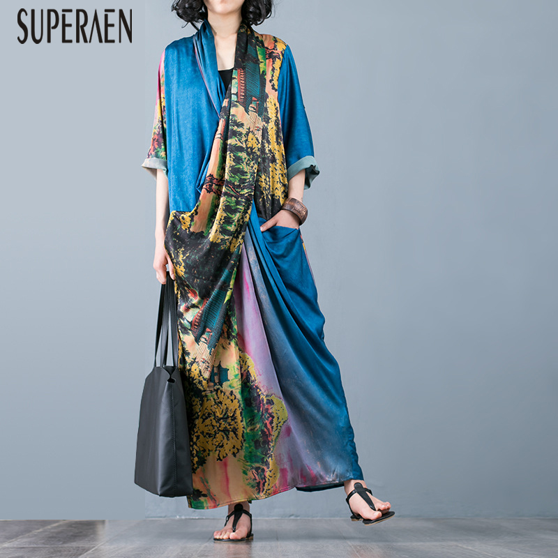 SuperAen Casual Long Dress Women Printed Fashion Casual Wild Ladies Dress Temperament 2019 Summer New Women