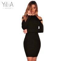 Yilia 2017 New Off Shoulder Pencil Bodycon Sweater Dress Autumn Winter Women Sexy Slim Style Long