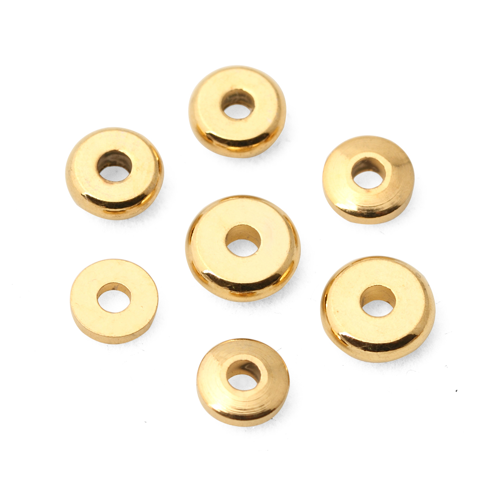100PCS 24K Gold Color Plated Brass Wheel Spacer Beads Various models High Quality For Jewelry Making Diy Bracelet Necklace