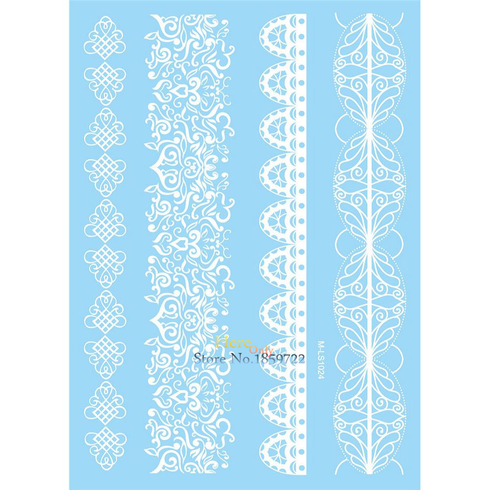 1PC Beauty Body Arm Art Decals Temporary Tattoo Sticker White Lace Henna Flower Bracelet Design Waterproof Leg Tattoos HM-LS1024