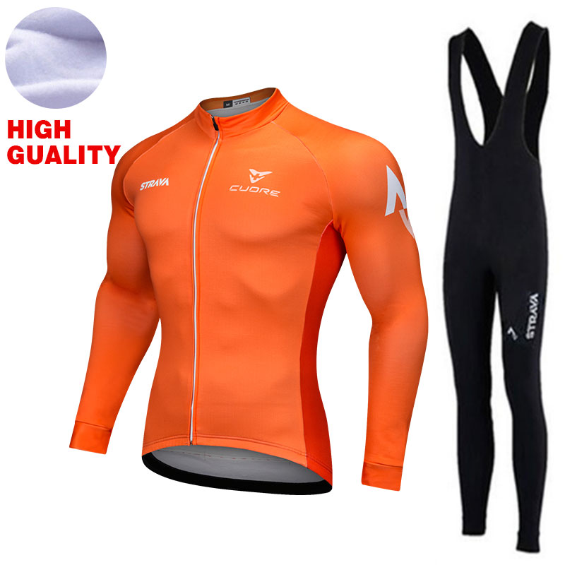 Pro Cycling Jersey Set Men Bike Clothing Long Sleeve Winter Thermal Fleece MTB Bicycle Clothes Wear Maillot Ciclismo Cycling Set santic autumn winter women winter cycling set bicycle jacket padded pants pro team cycling clothing mtb bike long jersey set