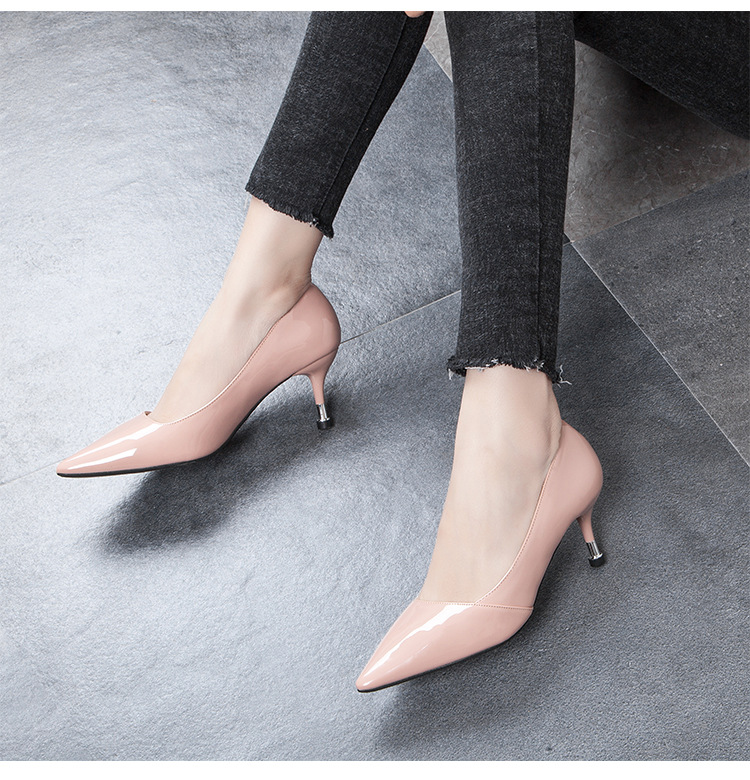 2019 new arrival Heels Patent Leather Dress Shoes Thin Heeled