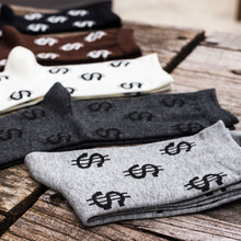 New Winter Autumn Novelty Men's Long Socks Harajuku Money Dollar Patterned Socks Funny Cartoon Sock Pure Cotton For Men WZ033