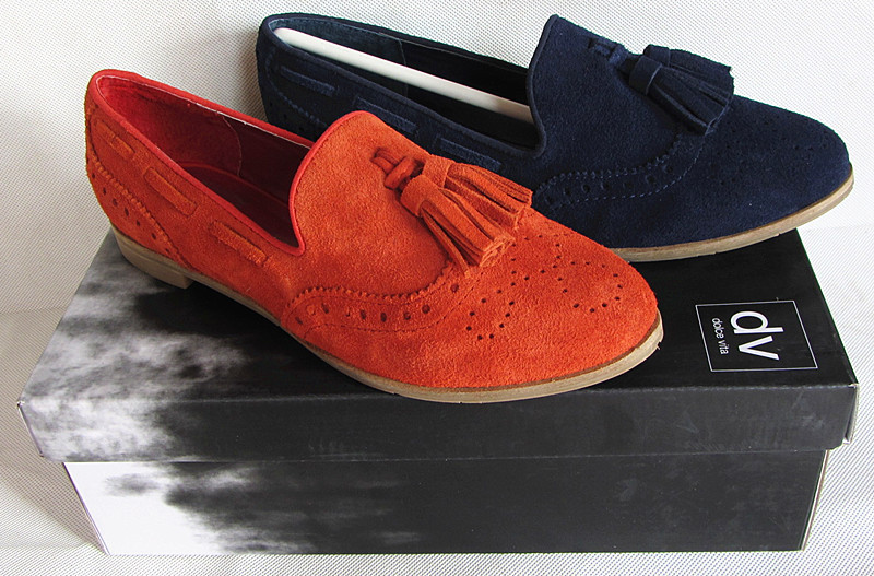 69b29b52397 Fashion Women Nubuck Leather Loafers Orange