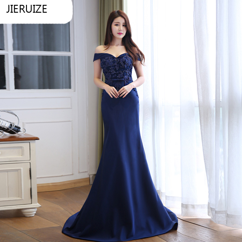 JIERUIZE Dark Navy Blue Lace Mermaid Long Evening Dresses 2016 Off the Shoulder Formal Evening Gowns
