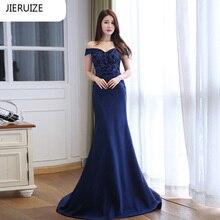 JIERUIZE Dark Navy Blue Lace Mermaid Long Evening Dresses 2016 Off the Shoulder Formal Evening Gowns abendkleider