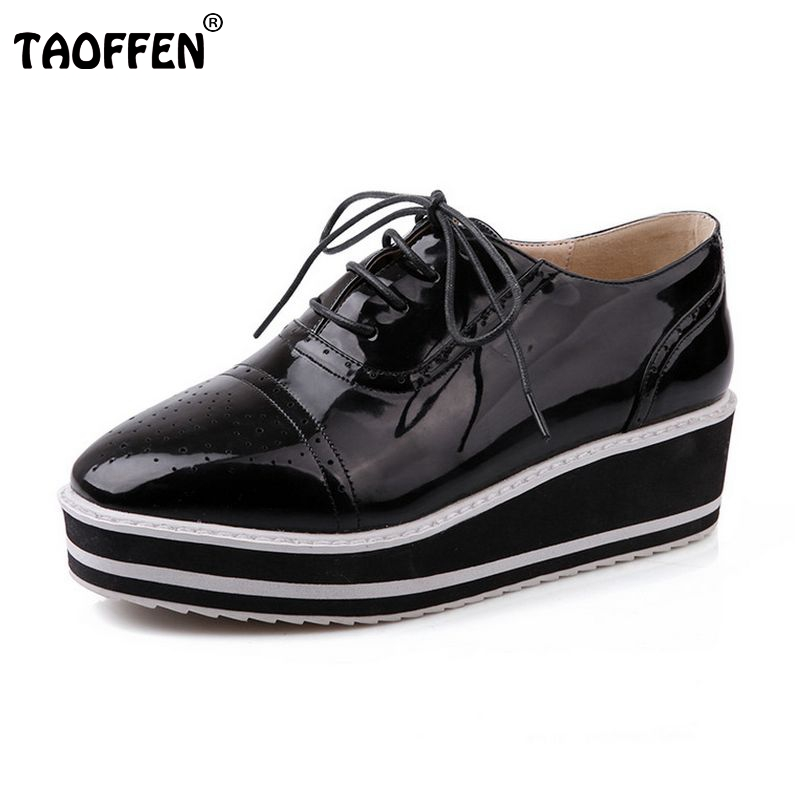 women high platform shoes patent leather star lady casual fashion wedge footwear heels shoes size 33-48 P16184 nayiduyun women genuine leather wedge high heel pumps platform creepers round toe slip on casual shoes boots wedge sneakers