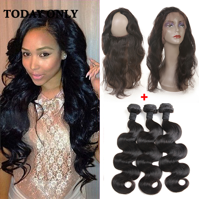 10A Grade Mink Brazilian Virgin Hair Body Wave With Closure 360 Lace Frontal With Bundle Pre Plucked 360 Frontal With Bundles