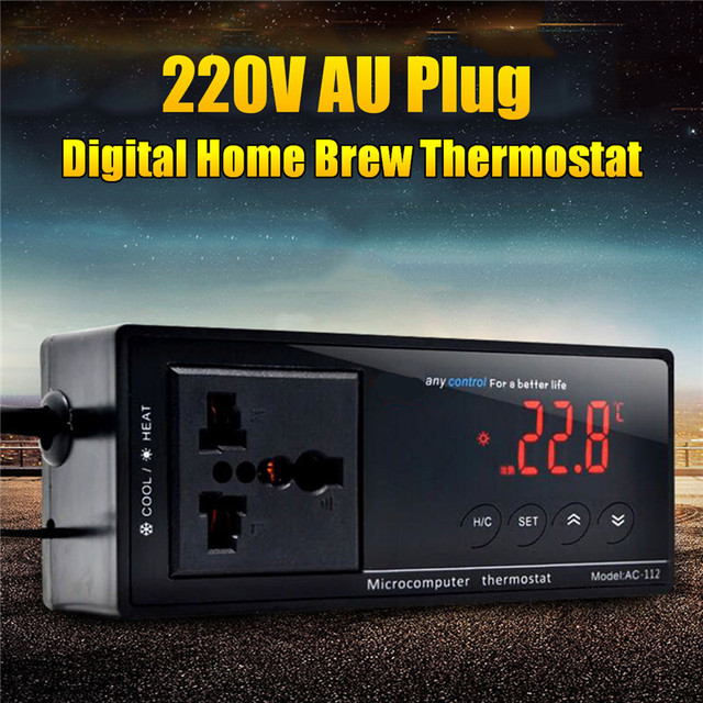 220V AU Plug Digital Micorcomputer Thermostat Home Brew Temperature Controller Control Heating Cooling Room Brewing Beer