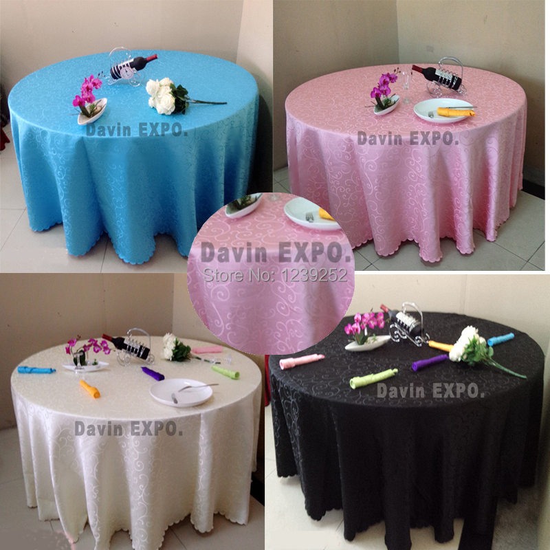 NEW Round 220CM 87 Table Jacquard Cloth Banquet Wedding Polyester Tablecloth For Wedding Party Festival Home Decoration