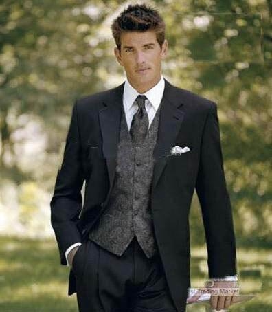 Custom Made 2 Buttons Groom Tuxedos Groomsmen Notch Lapel Men Suits(Jacket+Pants+Tie+Waistcoat)/ suits for men/BEST MAN SUItSwed