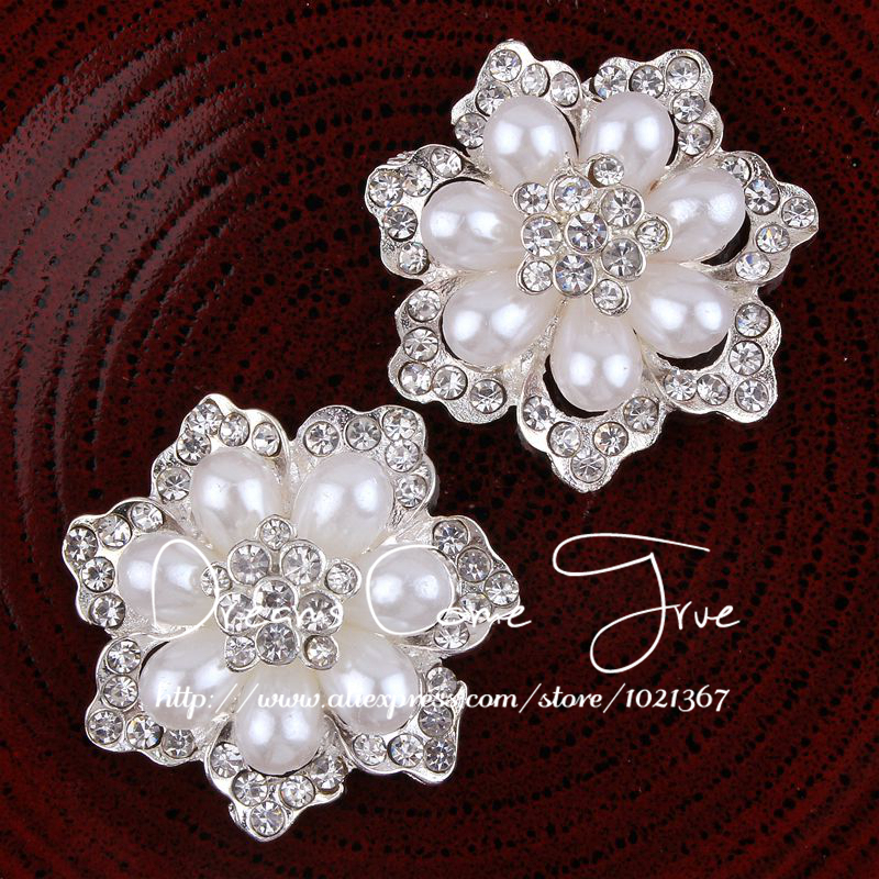 50pcs lot 40MM 2Colors Handmade Flower Shape Clear Pearl Flatback Crystal Decorative Rhinestone Button For Wedding