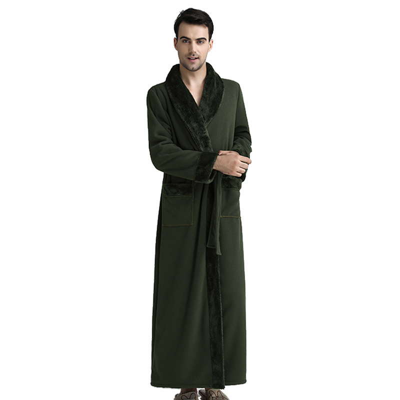 CEARPION Men Winter Warm Long Robe Flannel Kimono Bathrobe Gown Male Casual Nightgown Luxury Solid Color
