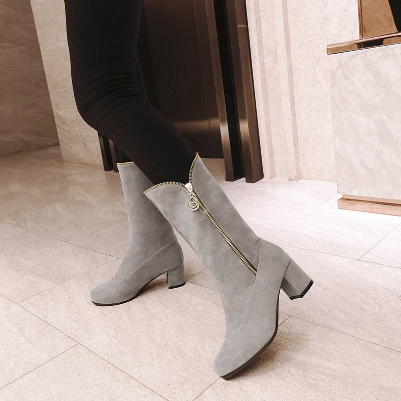 SIMLOVEYO 2019 new Winter Mid calf boots Suede leather Round toe Thick heel Zipper Black Grey Large size 48 Winter Booties mujer in Mid Calf Boots from Shoes