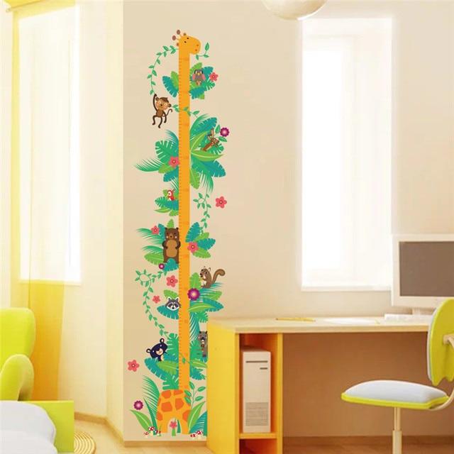 Forest Animals Monkey Giraffe Bear Height Measure Wall Sticker For Kids  Rooms Flower Growth Chart Wall Decal Art Poster Mural f2e87eb4f048