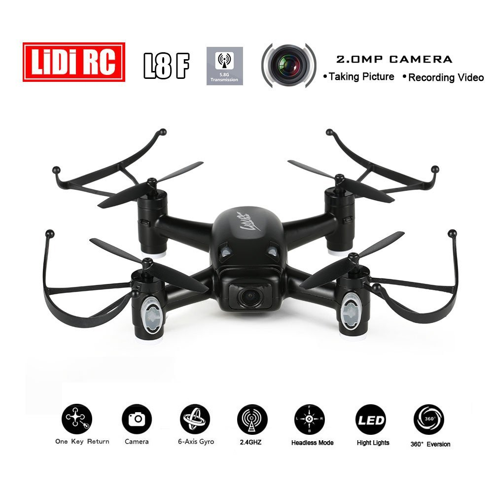 LIDI RC L8F 2.4Ghz 6-aixs 5.8G PFV RC Quadcopter with 2.0MP HD Camera Headless Altitude Hold Mode One Key Return RC Drone lidirc l8w 4ch 6 aixs wifi fpv 720p hd camera rc quadcopter with headless altitude hold mode one key return rc drone