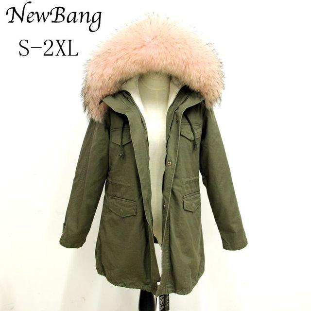 Women Racoon Fur Hoody Jacket Winter Parkas Large Real Fur Collar Parka Faux Fur Liner Thickening Warm Long Coat