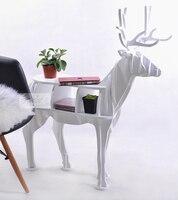 Wooden Christmas Deer Table New Design European 100 Birch Wood Elk Edge Table Deer Shape Animal