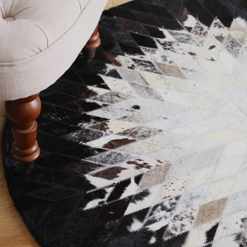 Round Bedside Table | Hand-made Cowhide Spliced Round Small Carpet In Northern European Study Computer Chair Living Room Table Mat Bedroom Bedside Rug