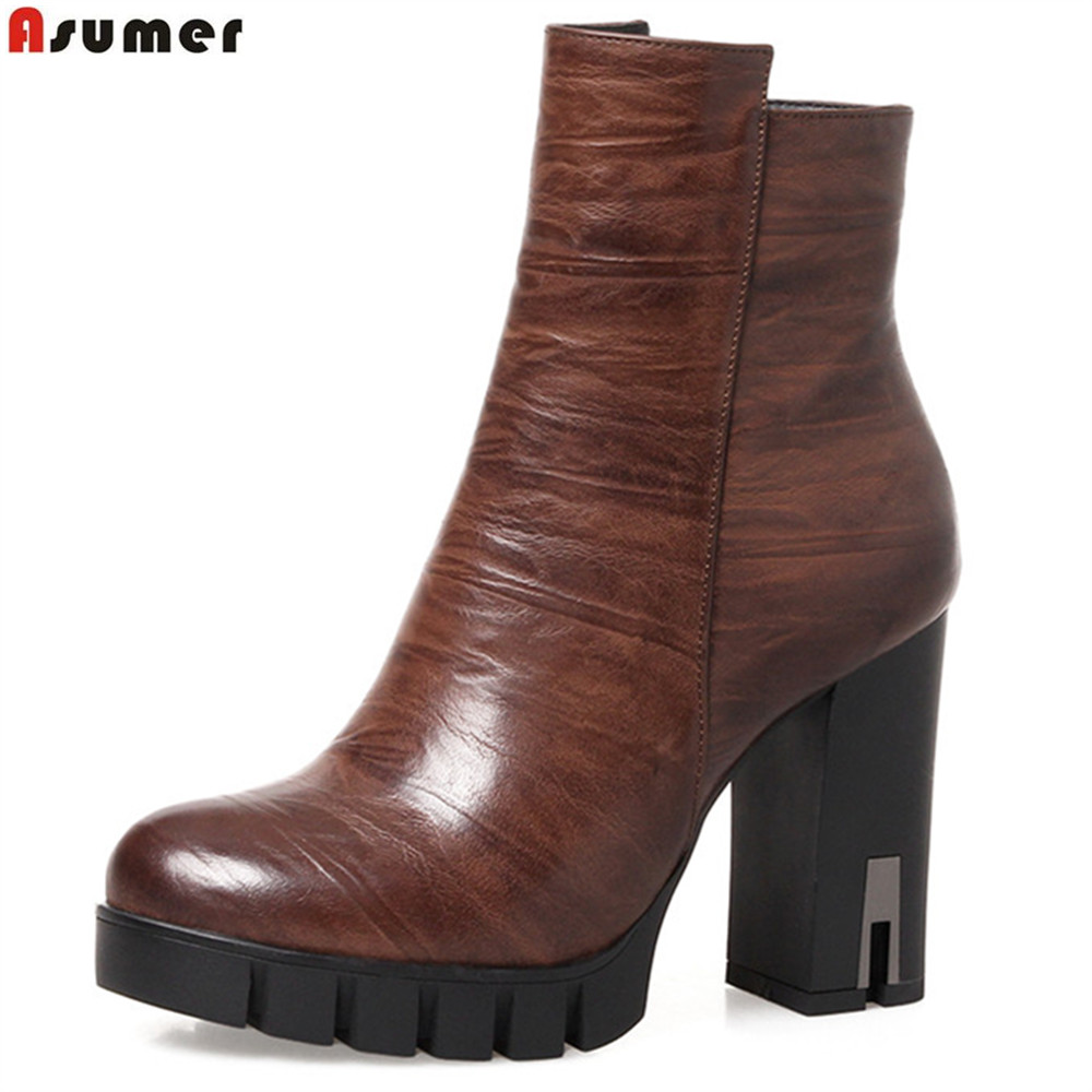 ASUMER fashion autumn winter new arrive women boots round toe ladies boots platform zipper high quality pu ankle boots 2016 new arrive high quality genuine leather high heels ankle boots fashion round toe simple leisure women autumn boots