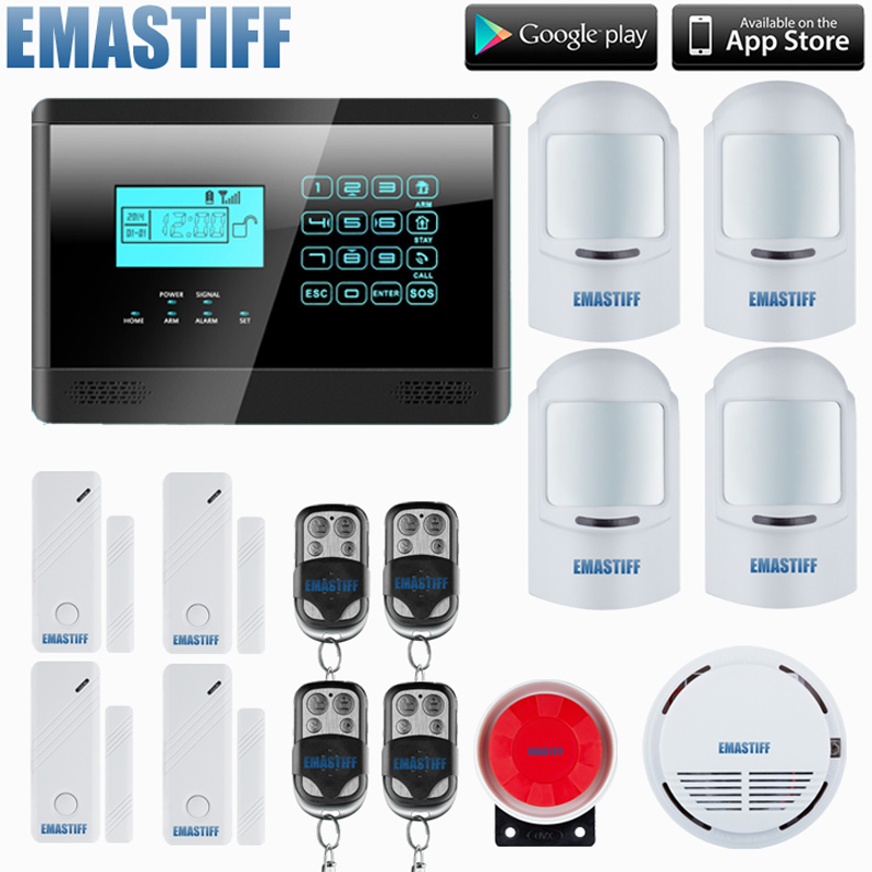 Free Shipping ! Wireless GSM SMS Autodial Smart Home Security Burglar Alarm System + Smoke Sensor LCD+4 pet immune pir sensor free shipping 99 wireless zone and 2 wired quad band lcd home security pstn gsm alarm system 3 pet immune pirs 5 new door sensor