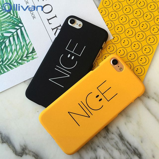 8c469cdaca OLLIVAN Smile Face Nice Case For iPhone 6 6S 7 8 Plus Cover Hard Cover  Yellow Cartoon Lovely Smile Couple Coque For iPhone 7